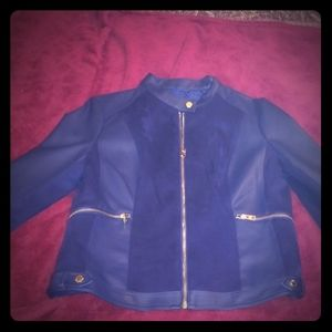 Andrew Marc Faux Blue Leather & Suede Jacket